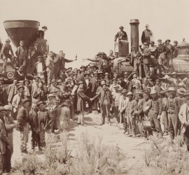 East and West Shaking hands at the laying of last rail Union Pacific Railroad